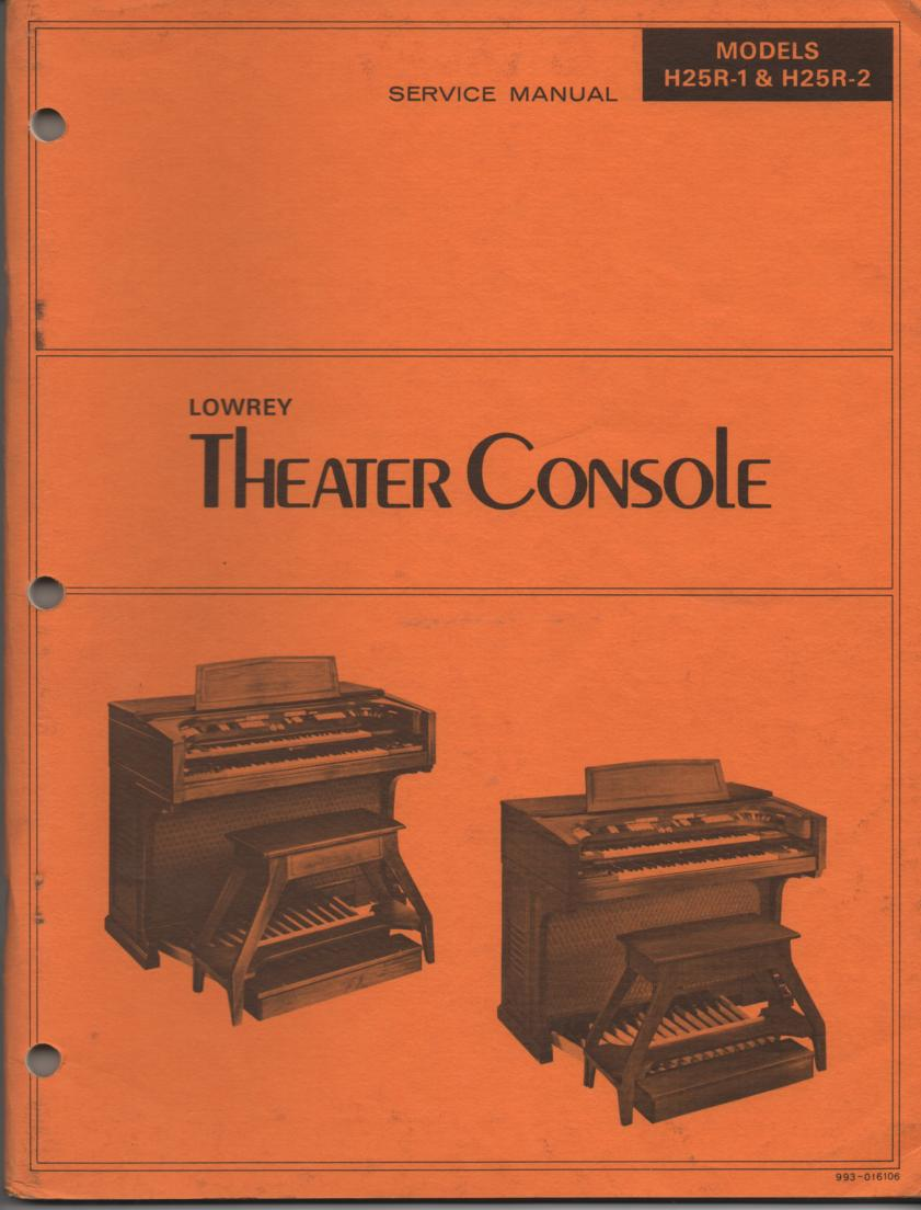 Lowrey Organ H R H R Theatre Console Service Manual on Zenith Tv Manuals