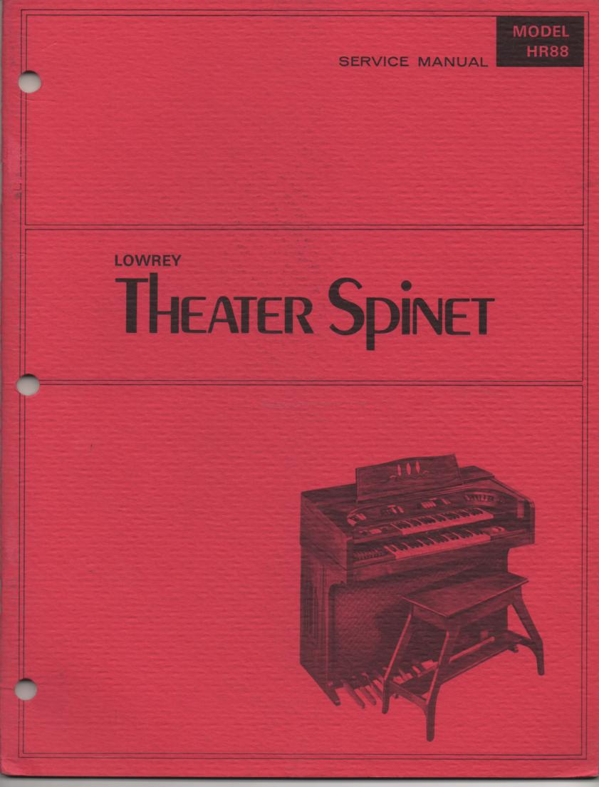 HR88 HR-88 Theater Spinet Organ Service Manual