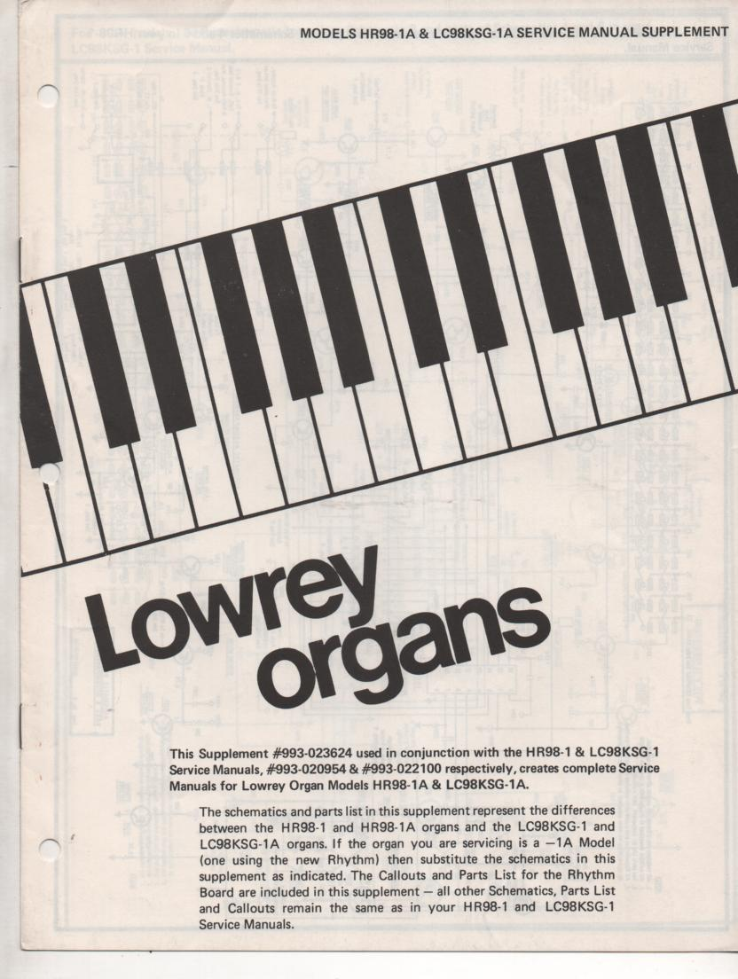 HR98-1A Theater Spinet Organ Service Manual