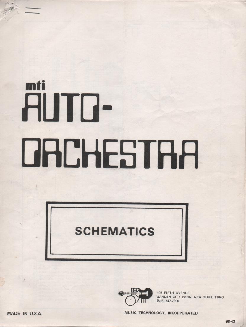 MTI Auto Orchestra Schematic Service Manual