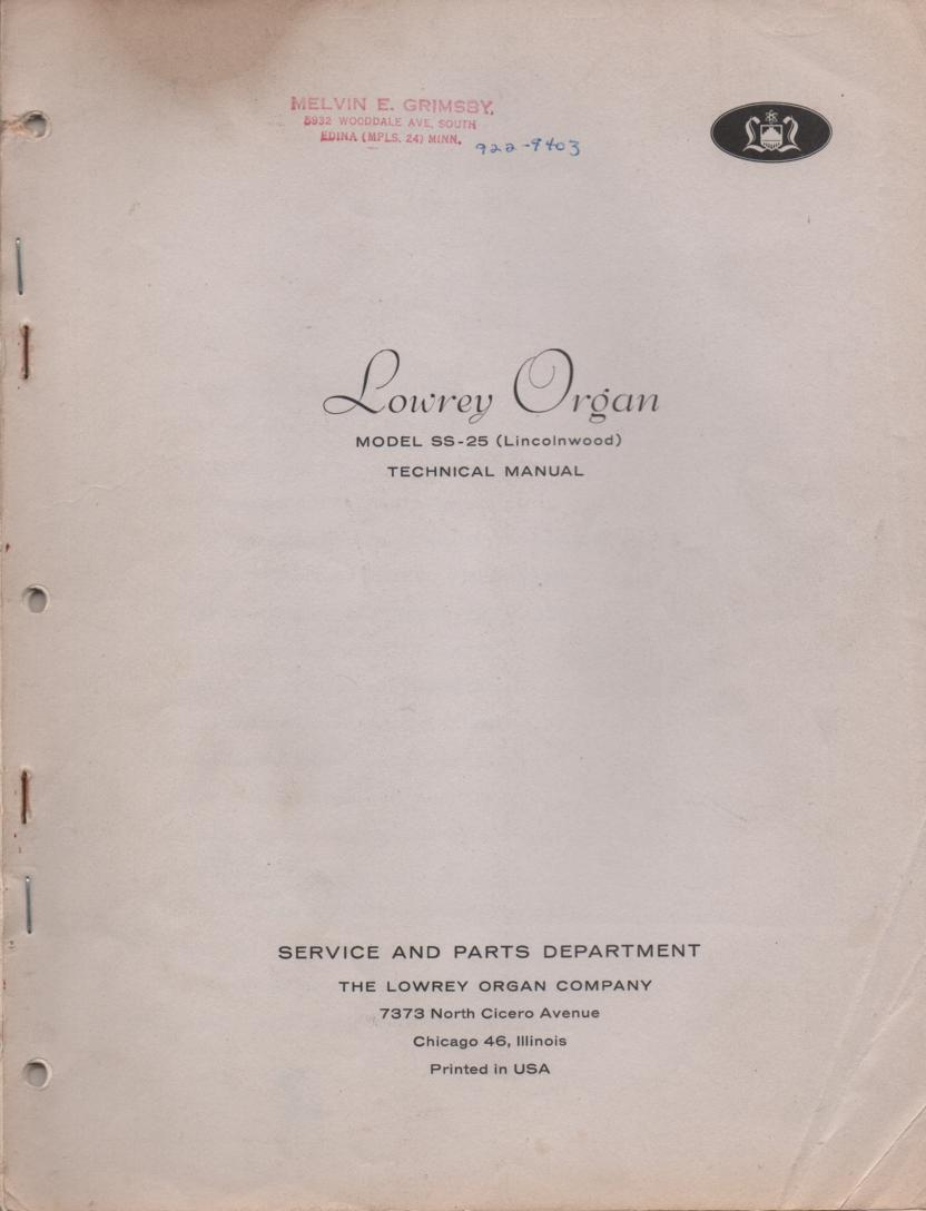 SS-25 Lincolnwood Organ Service Manual Schematics