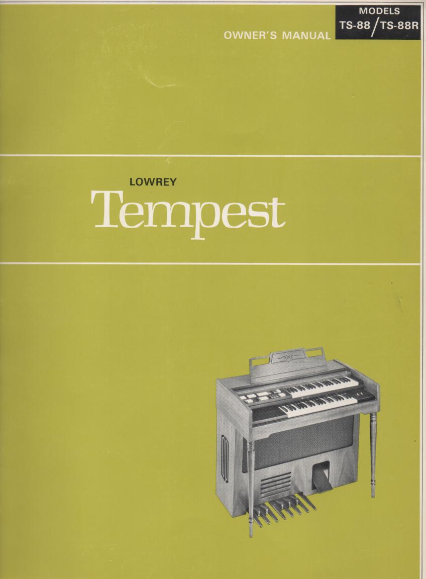 TS-88 TS-88R Tempest Organ Owners Manual