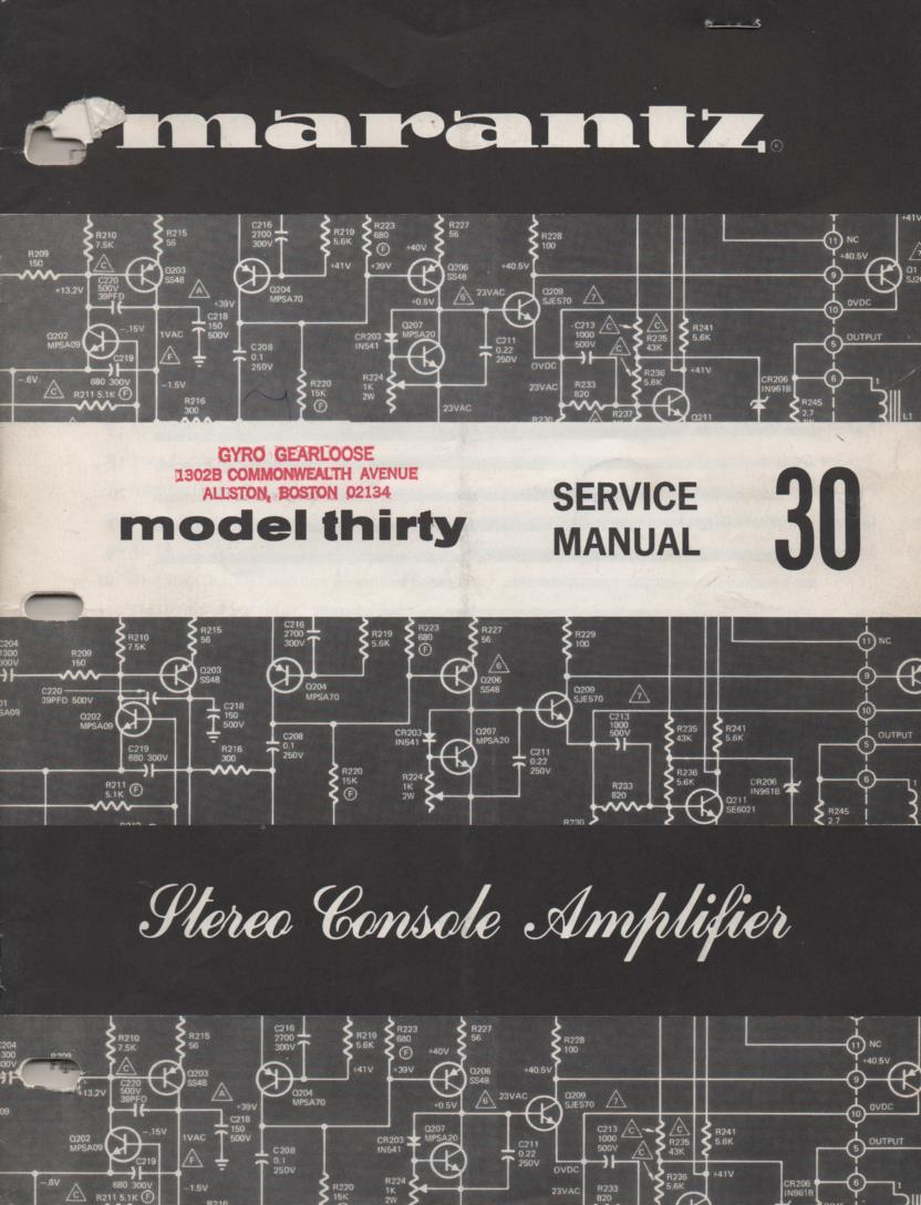 30 Stereo Console Amplifier Service Manual