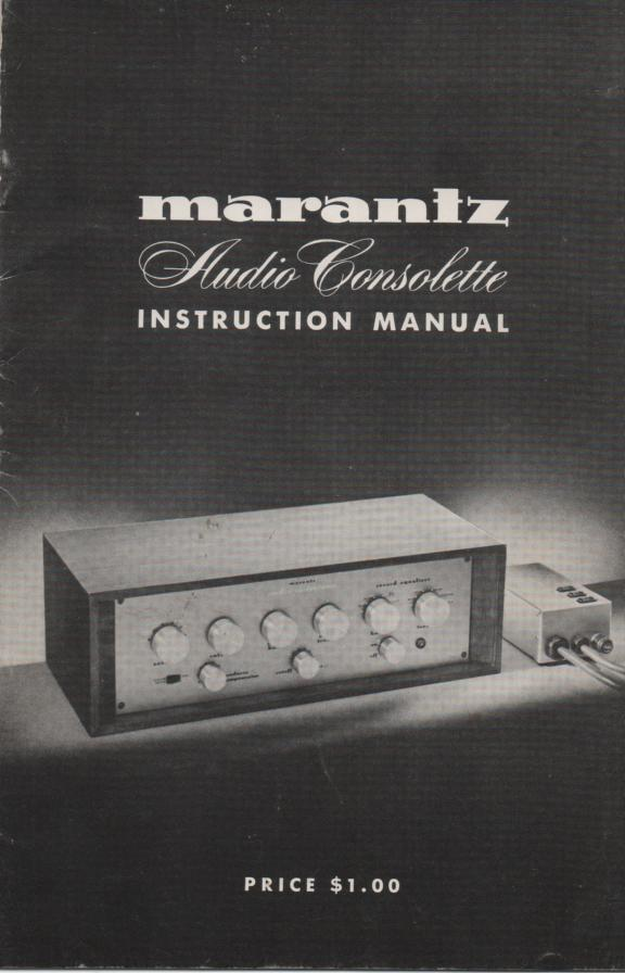 Audio Consolette Owners Operating Instruction Manual