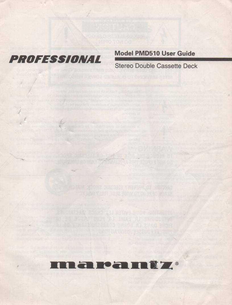 PMD510 Cassette Deck Owners Manual