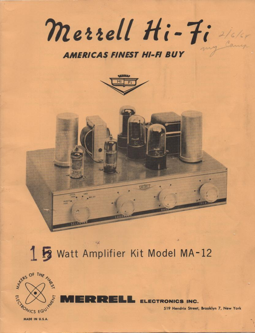 MA-12 Amplifier Service Manual.  This is a kit assembly manual with a schematic