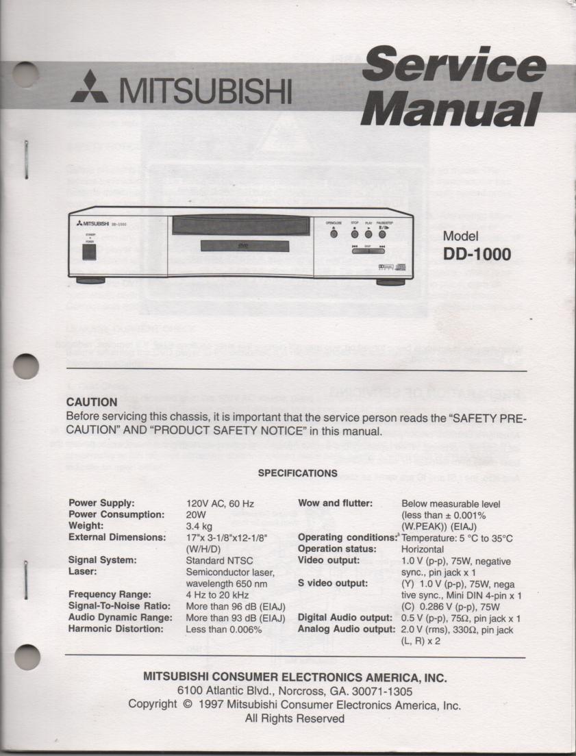 DD-1000 DVD Player Service Manual