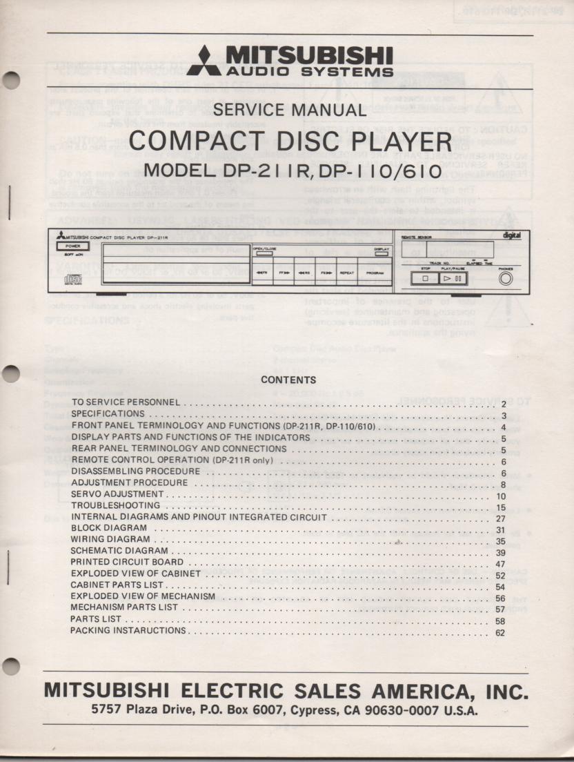 DP-110 DP-211R DP-610 CD Player Service Manual
