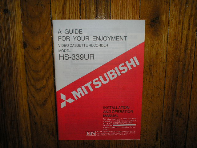 HS-339UR VCR Operating Instruction Manual