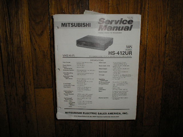HS-412UR VCR Service Manual