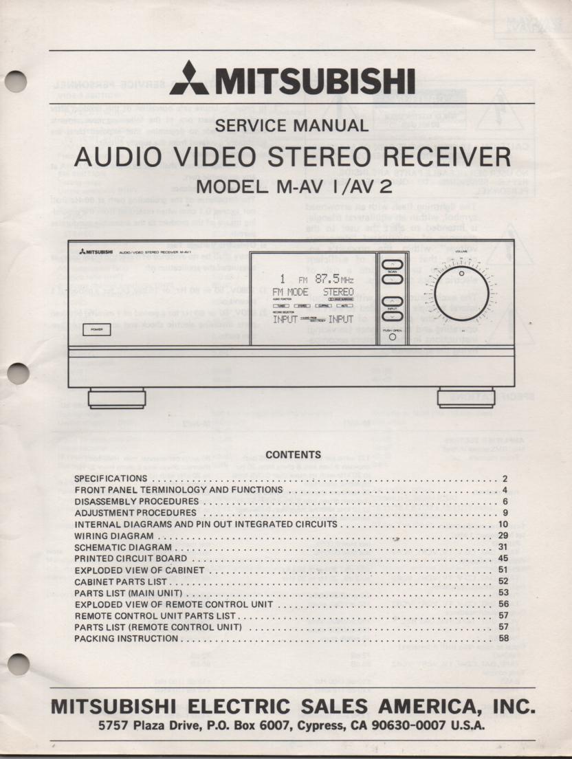 M-AV1 M-AV2 Audio Video Receiver Service Manual