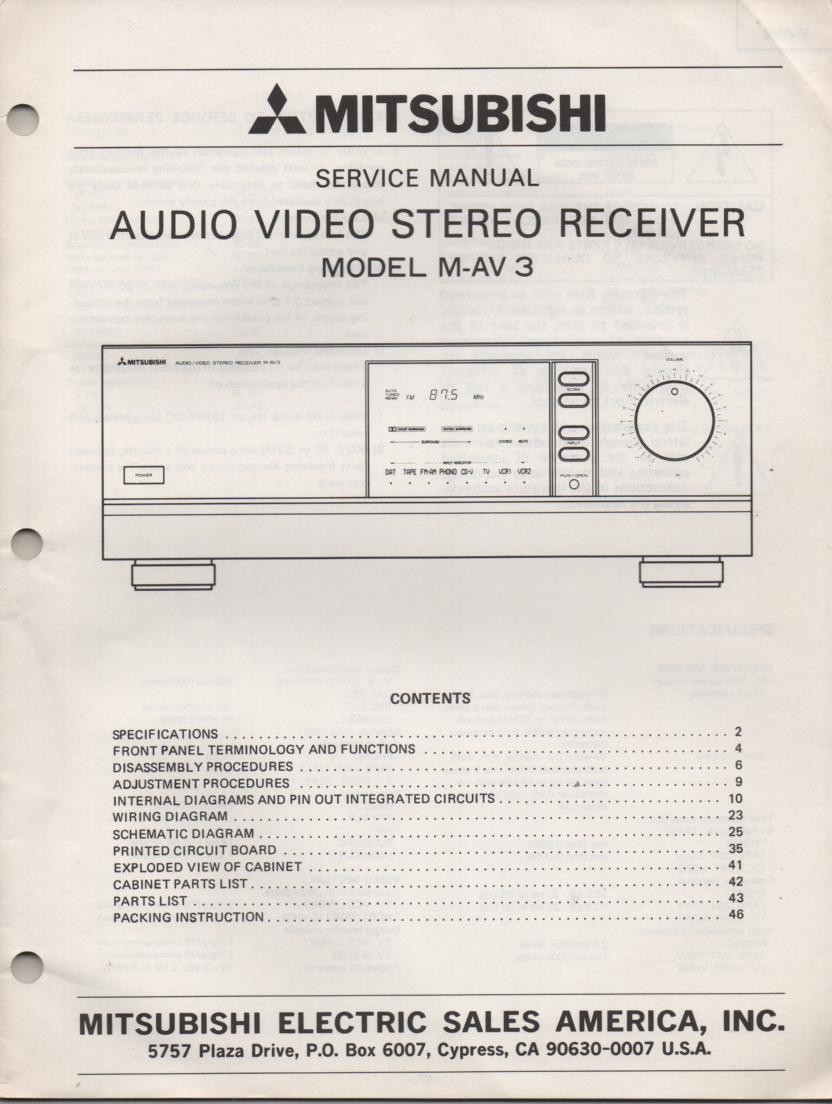 M-AV3 Audio Video Receiver Service Manual