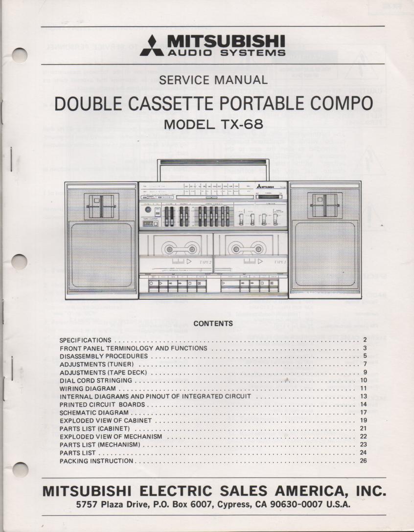 TX-68 Cassette Deck Radio Service Manual
