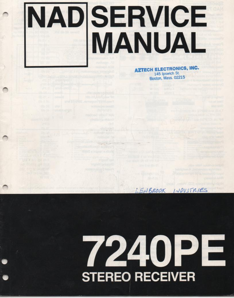 7240PE Stereo Receiver Service Manual  NAD