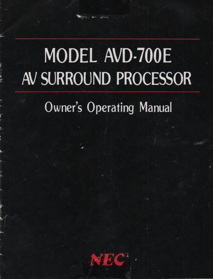 AVD-700E Surround Sound Owners Manual