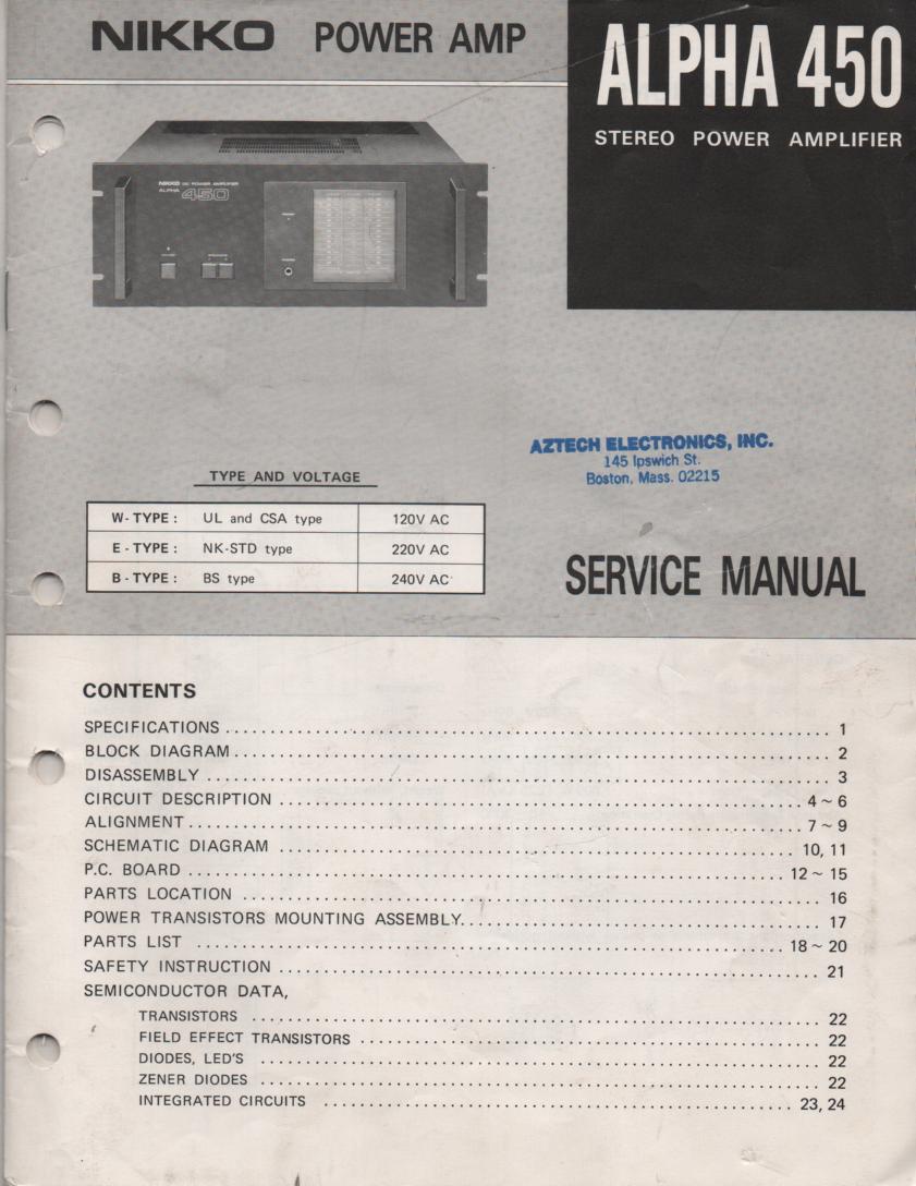 Alpha 450 Power Amplifier Service Manual