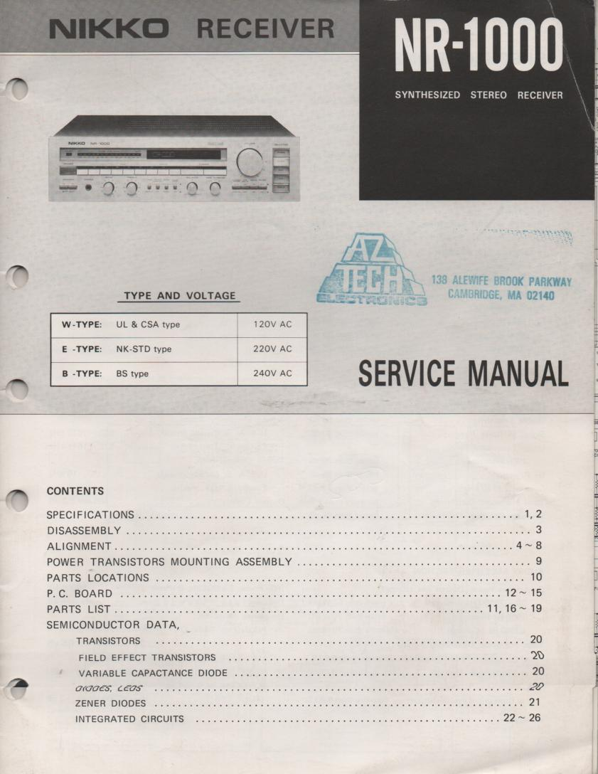 NR-1000 Receiver Service Manual  NIKKO
