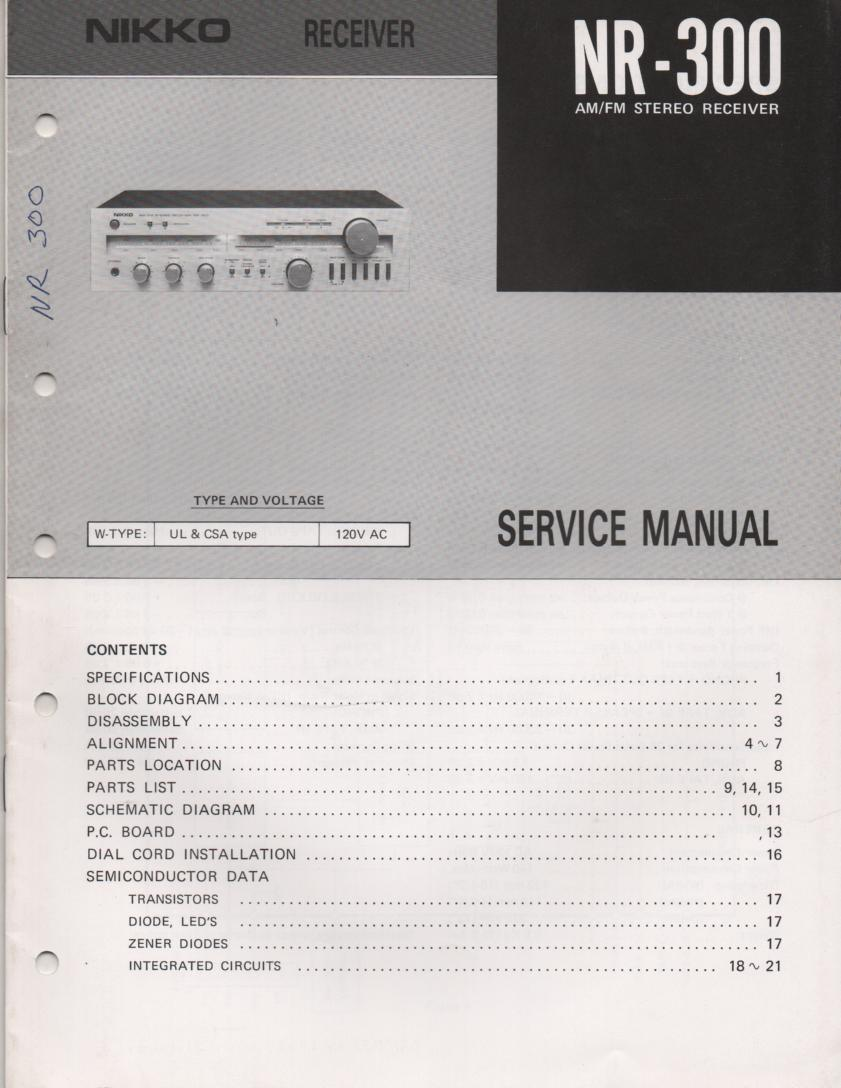 NR-300 Receiver Service Manual  NIKKO