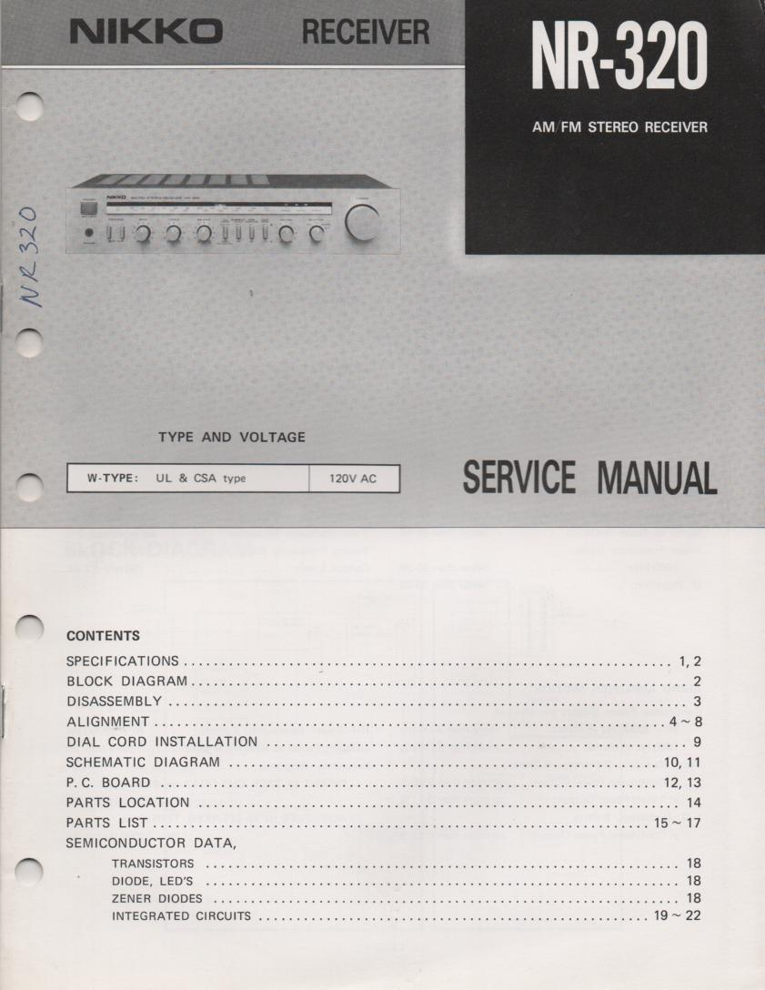 NR-320 Receiver Service Manual  NIKKO