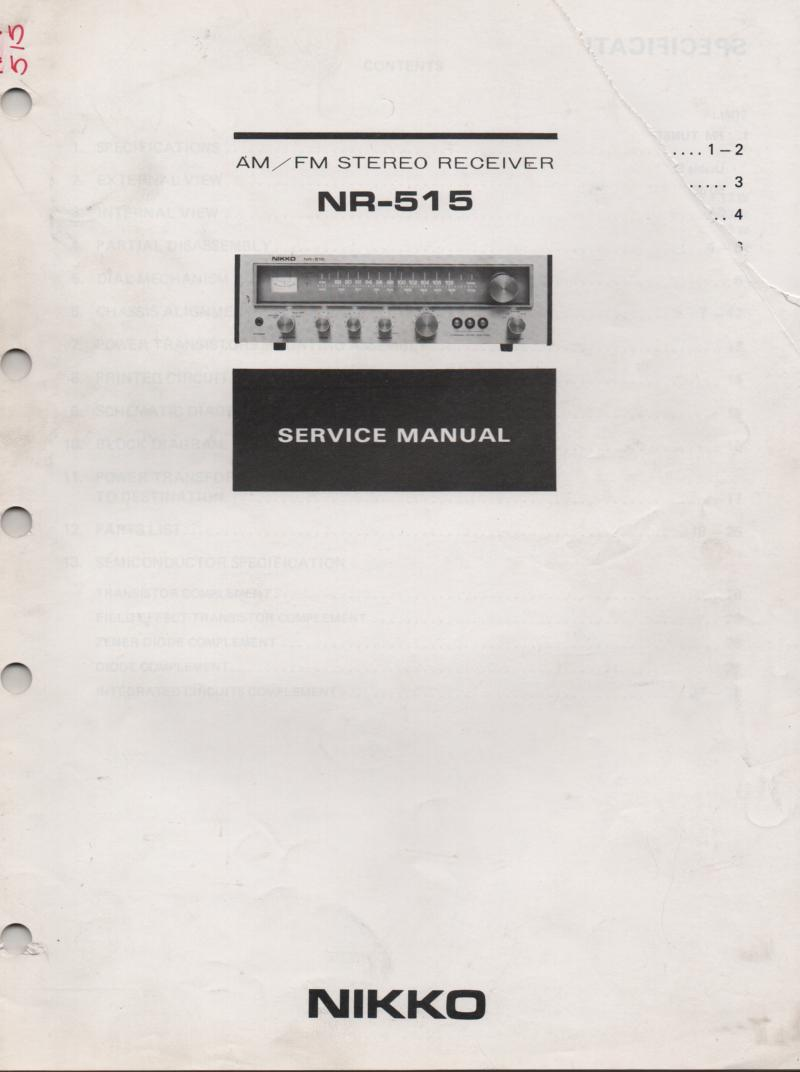 NR-515 Receiver Service Manual  NIKKO
