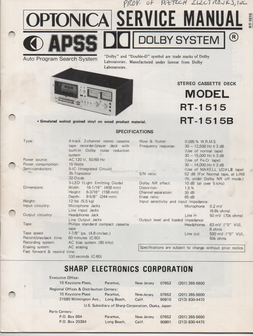 RT-1515 RT-1515B Cassette Deck Service Manual