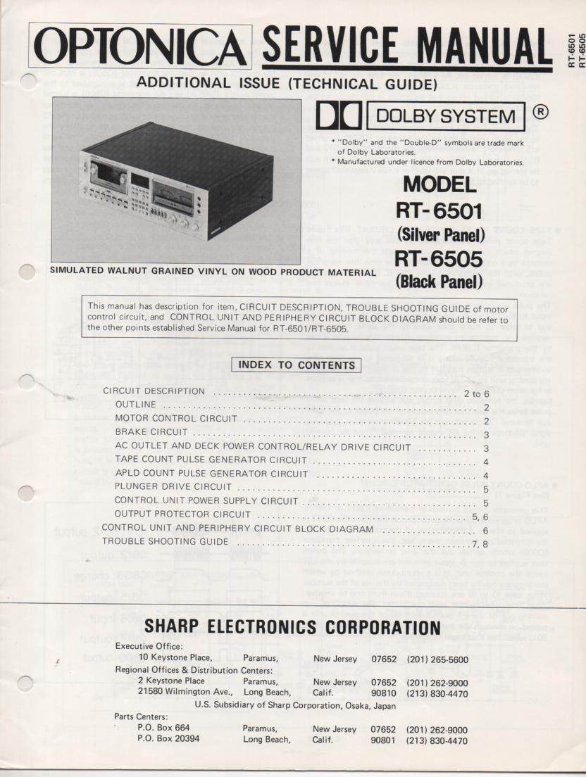 RT-6501 RT-6505 Cassette Deck Service Manual