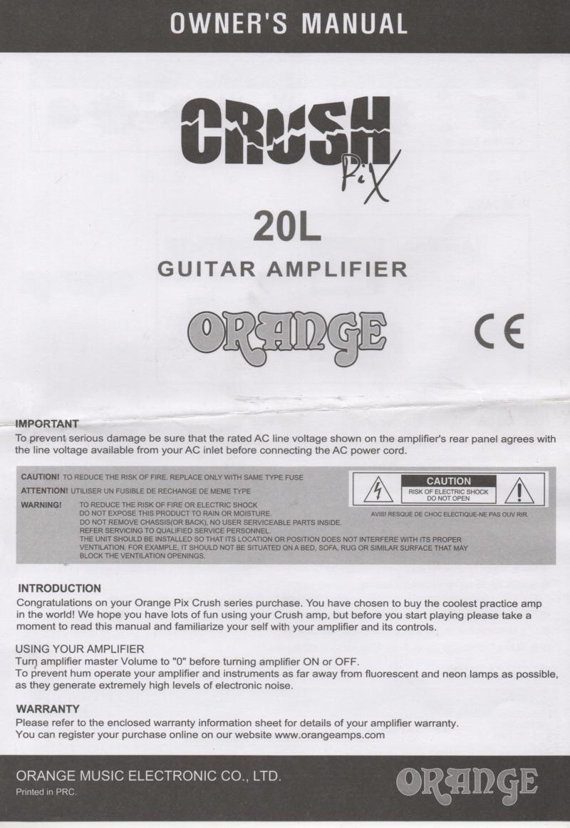20L Guitar Amplifier Owners Manual