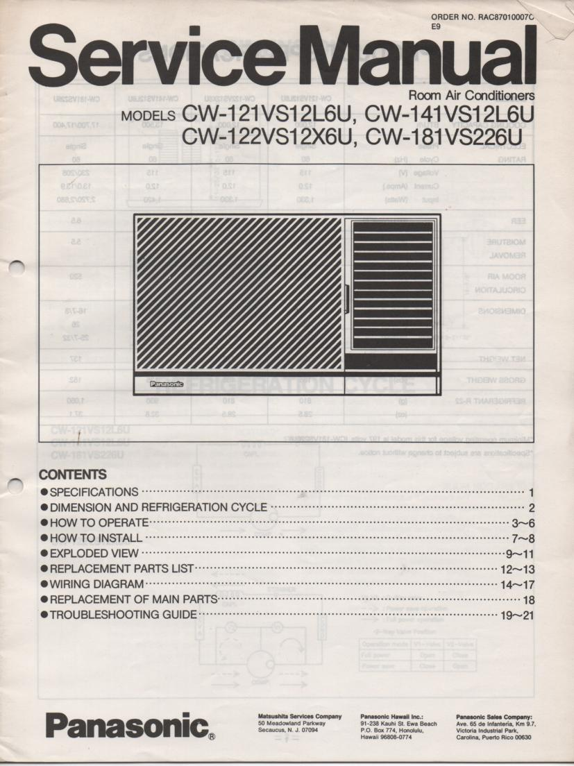 Panasonic Cw 141vs12l6u Cw 121vs12l6u Cw 181vs12l6u Air