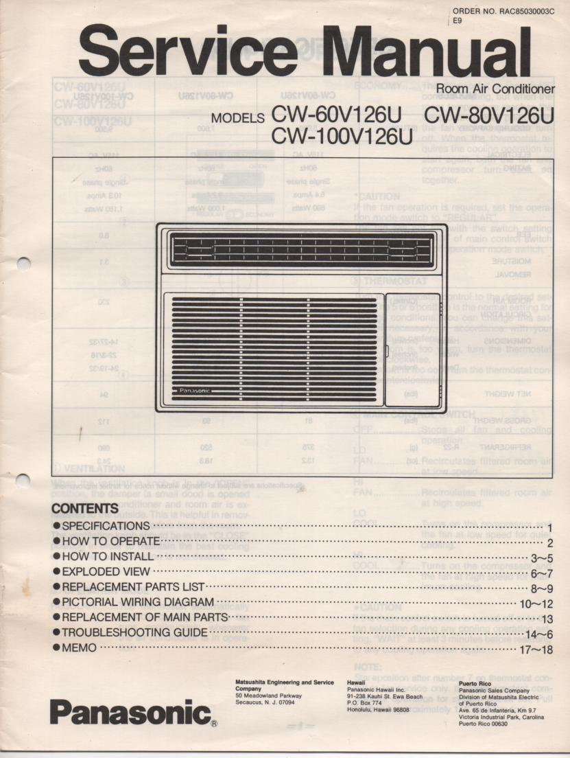 CW-60V126U Air Conditioner Service Manual