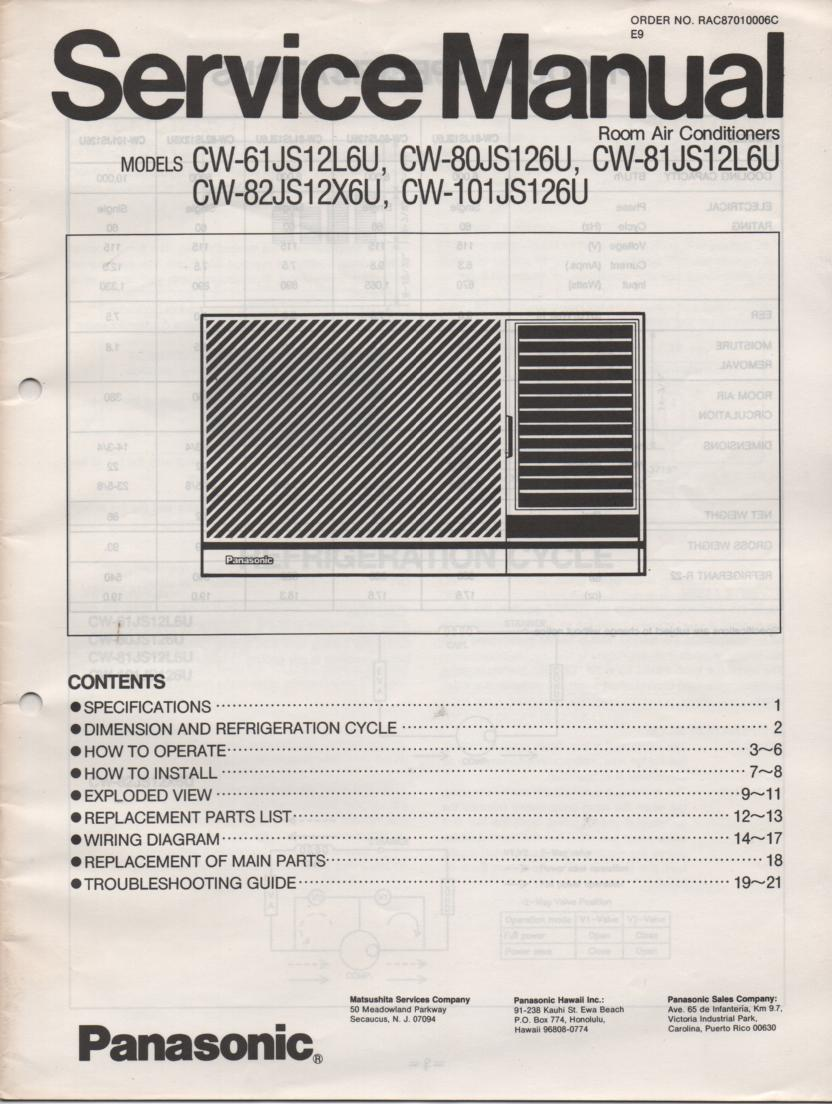 CW-80JS126U Air Conditioner Service Manual