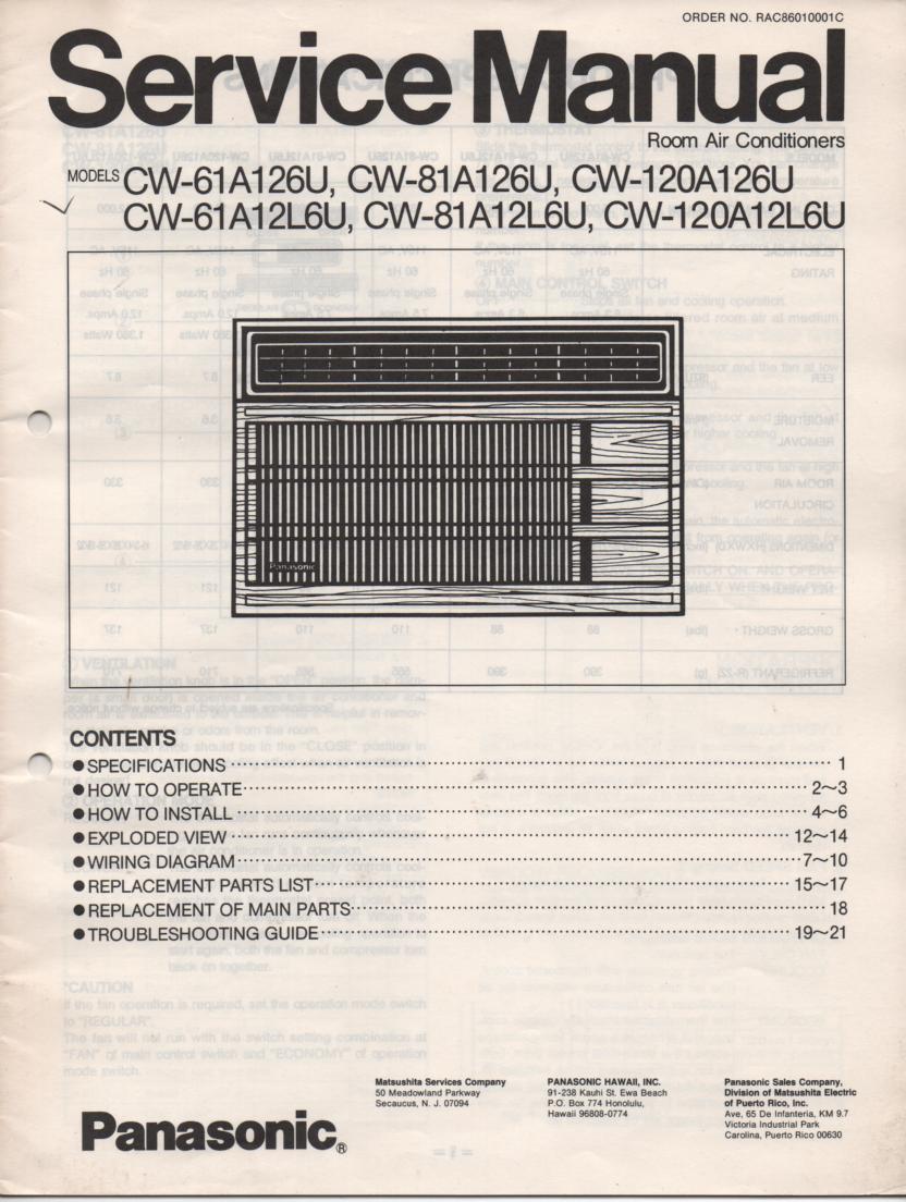 Panasonic Cw 81a12l6u Cw 81a126u Air Conditioner Service