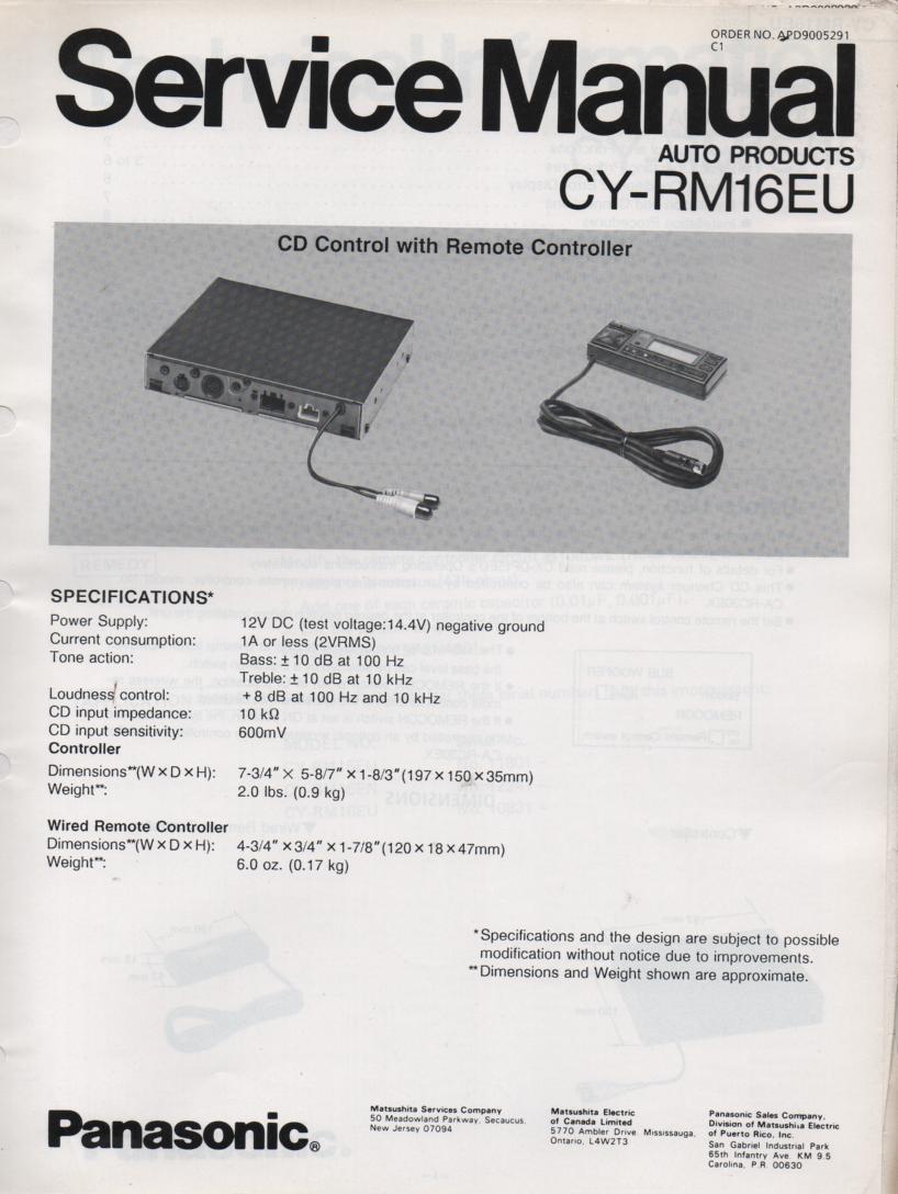 CY-RM16EU CD Controller Service Manual