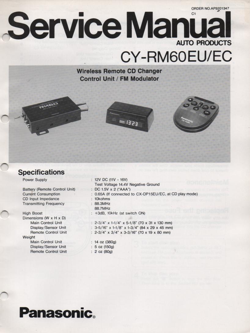 CY-RM60EU CY-RM60EC CD Controller Service Manual