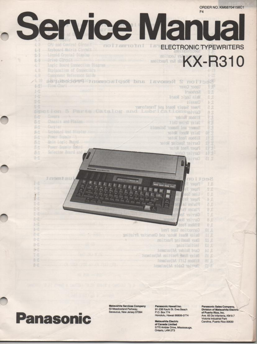 KXR310 Typewriter Service Manual
