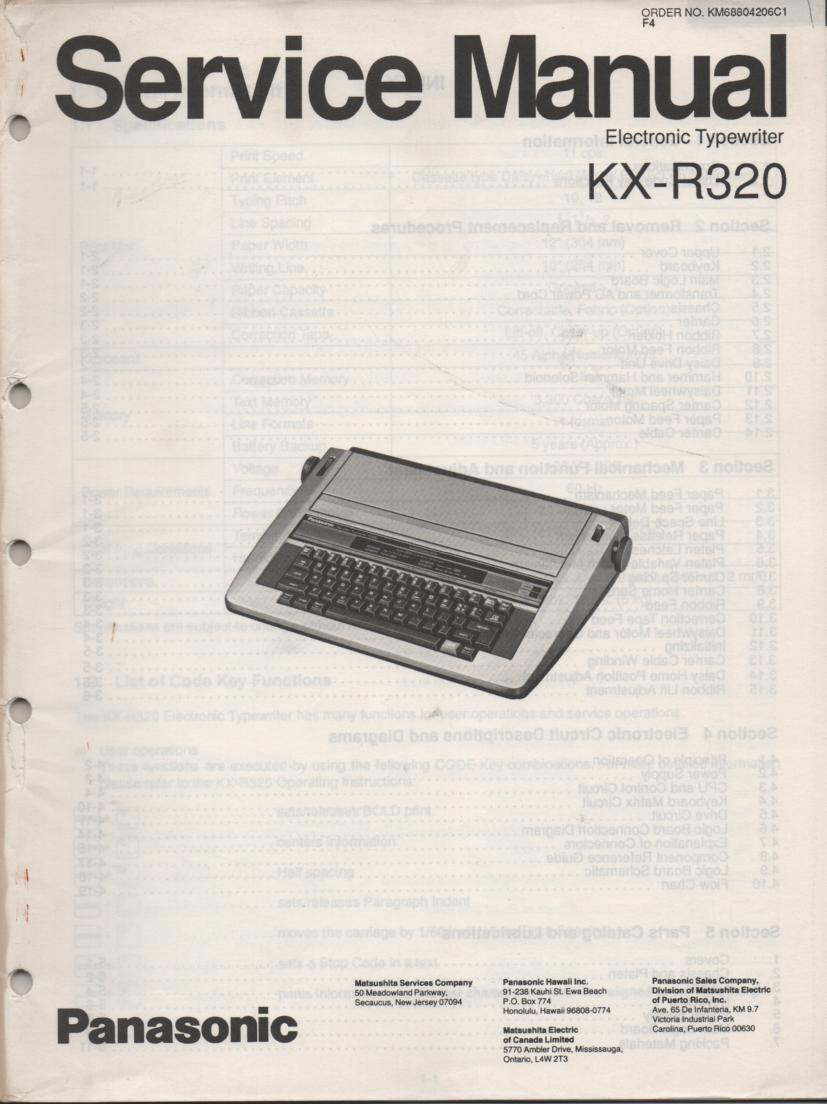 KXR320 Typewriter Service Manual