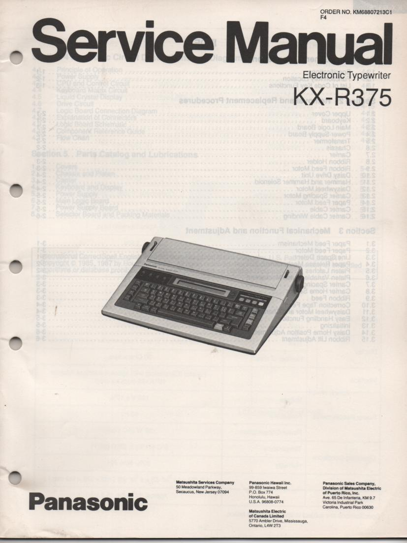 KXR375 Typewriter Service Manual
