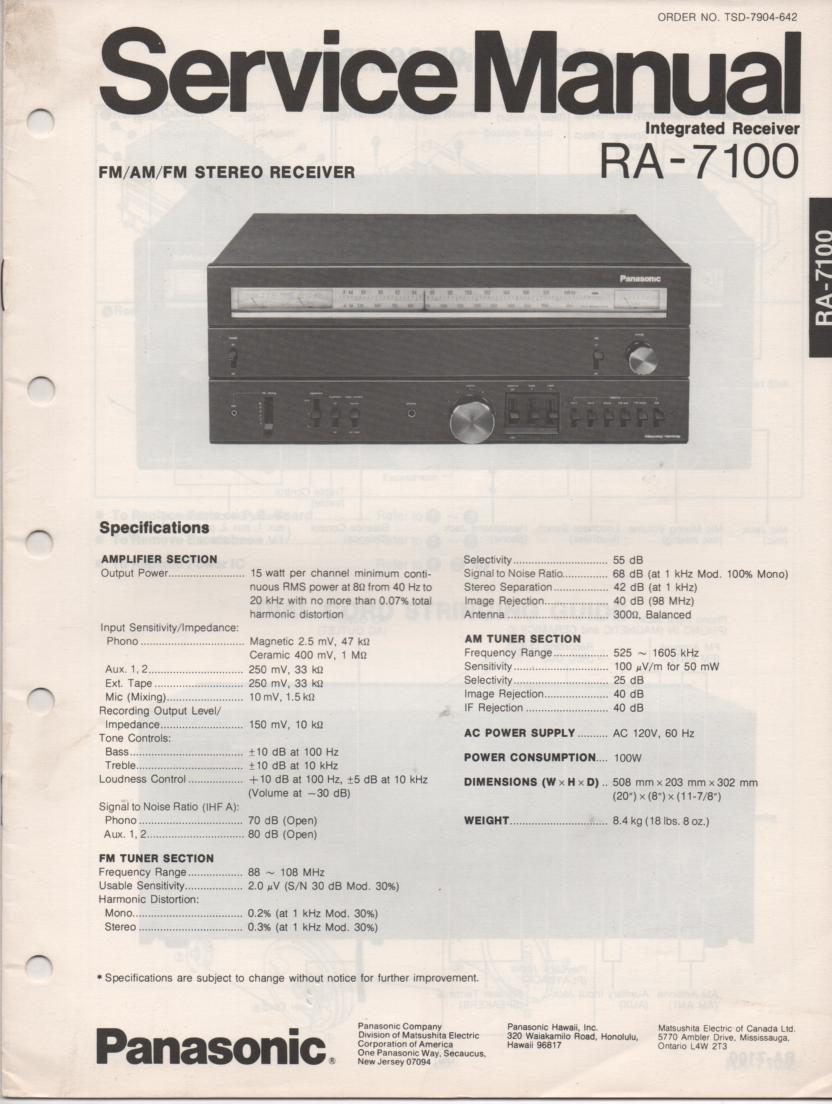 RA-7100 Receiver Service Manual  PANASONIC RECEIVERS