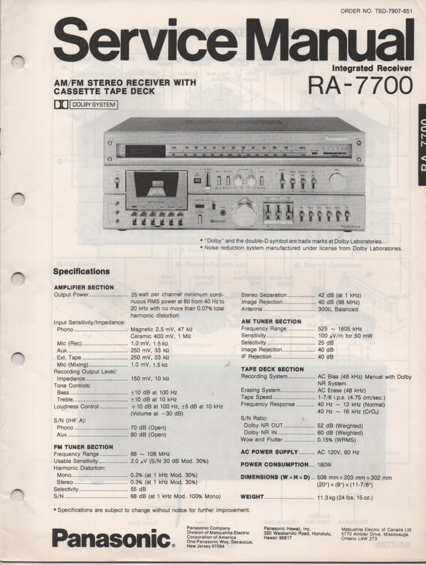 RA-7700 Receiver Service Manual  PANASONIC RECEIVERS