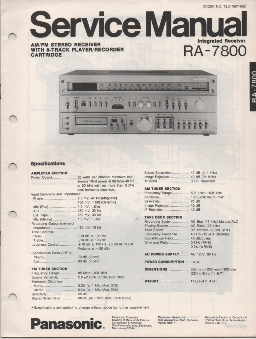 RA-7800 Receiver Service Manual  PANASONIC RECEIVERS