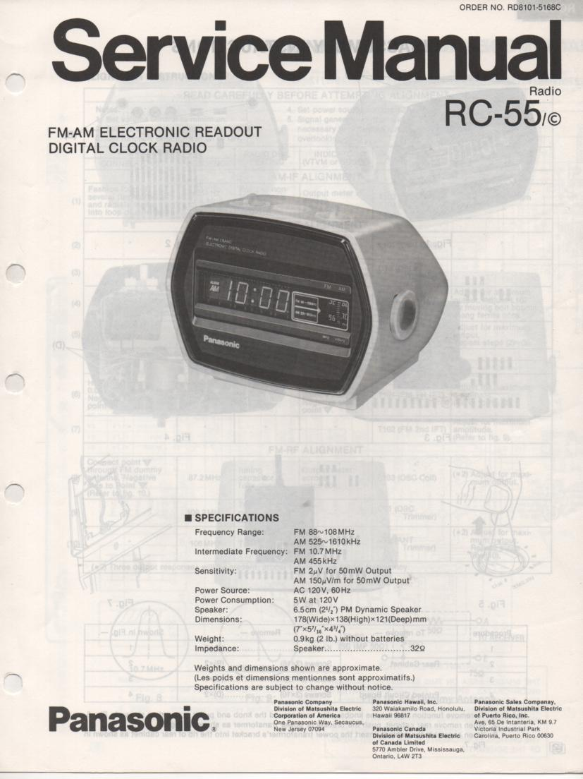 RC-55 RC-55C Clock Radio Service Manual