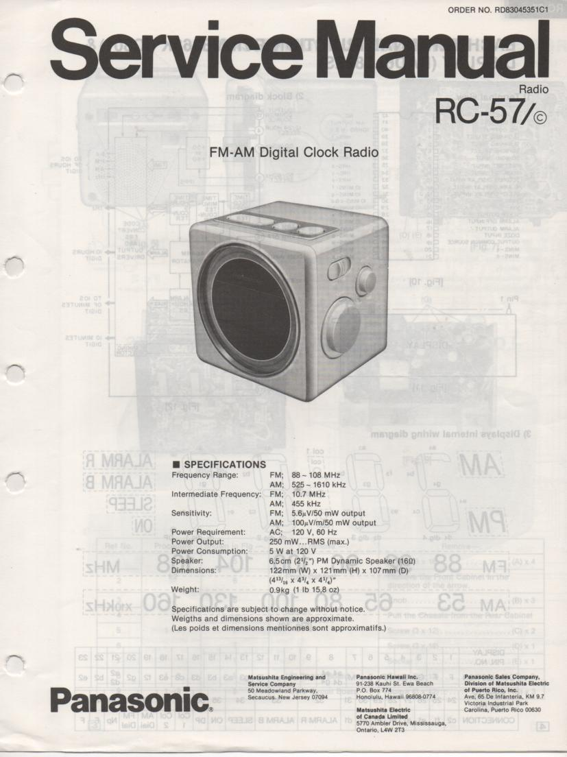 RC-57 RC-57C Clock Radio Service Manual