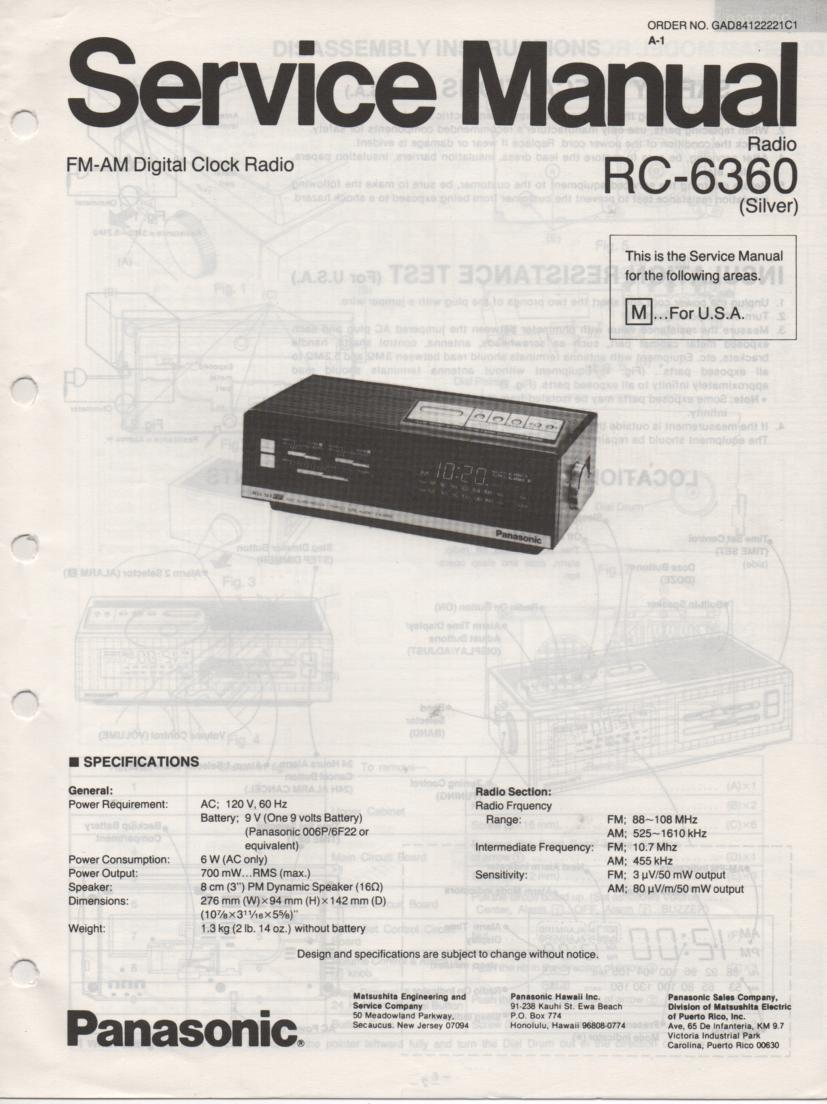 RC-6360 M Digital Clock Radio Service Manual