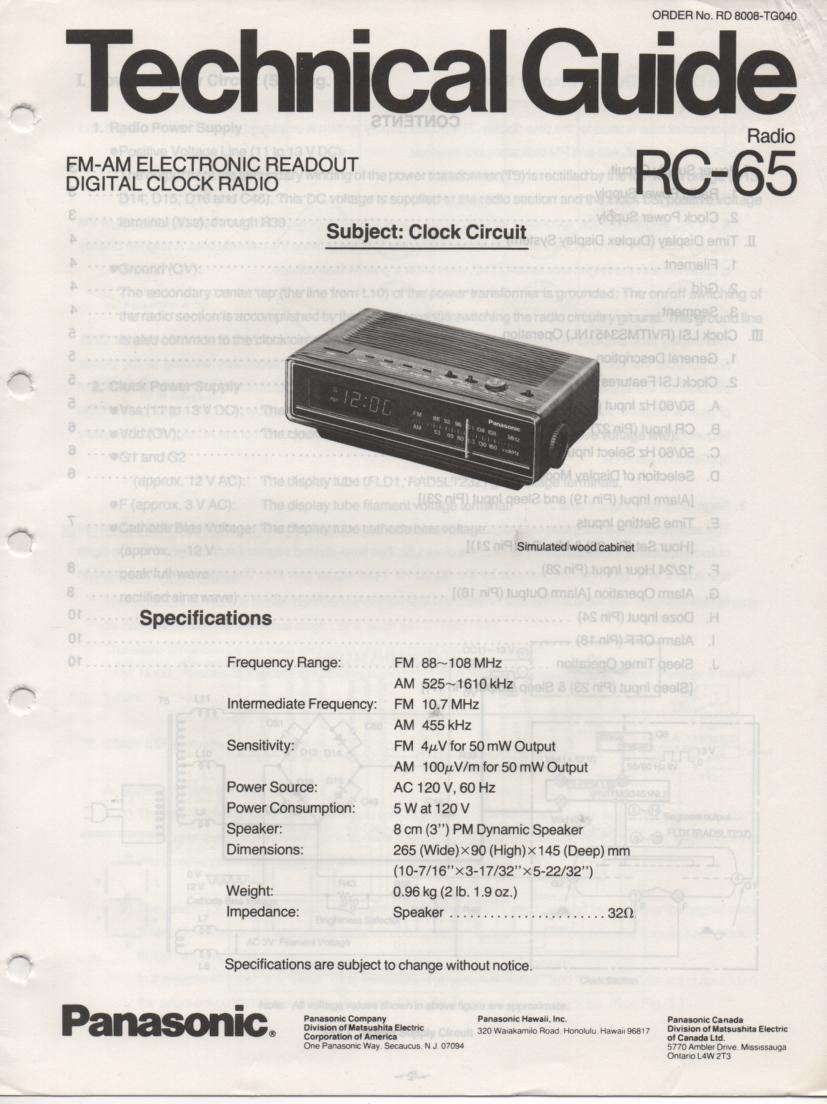 RC-65 Digital Clock Radio Service Manual