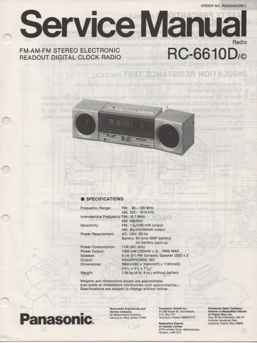 RC-6610D Digital Clock Radio Service Manual
