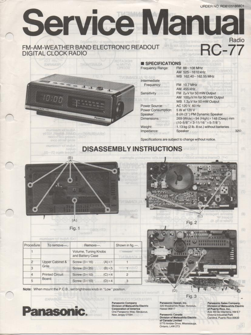 RC-77 Weather Band Clock Radio Service Manual