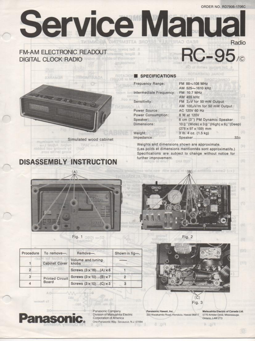 RC-95 RC-95C Digital Clock Radio Service Manual.