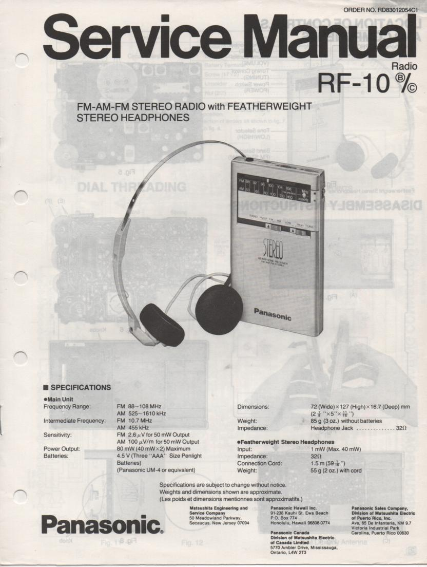 panasonic rf 2800 service manual