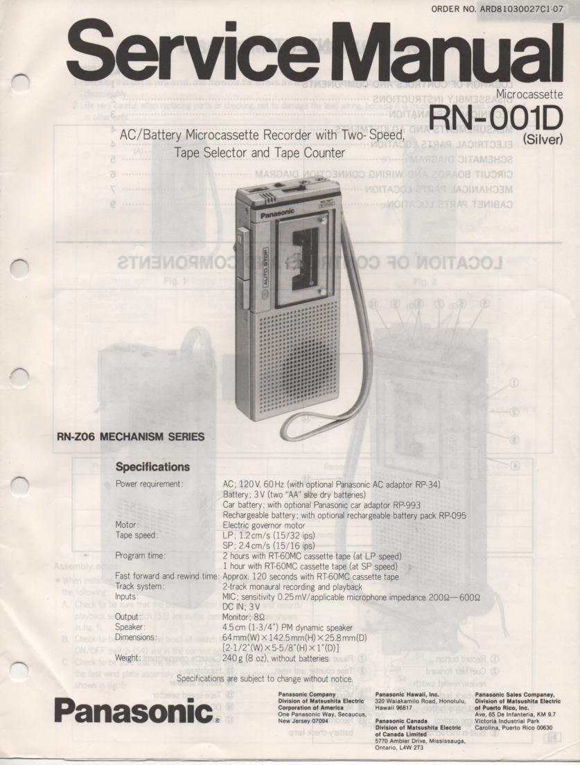 RN-001D Microcassette Deck Service Manual