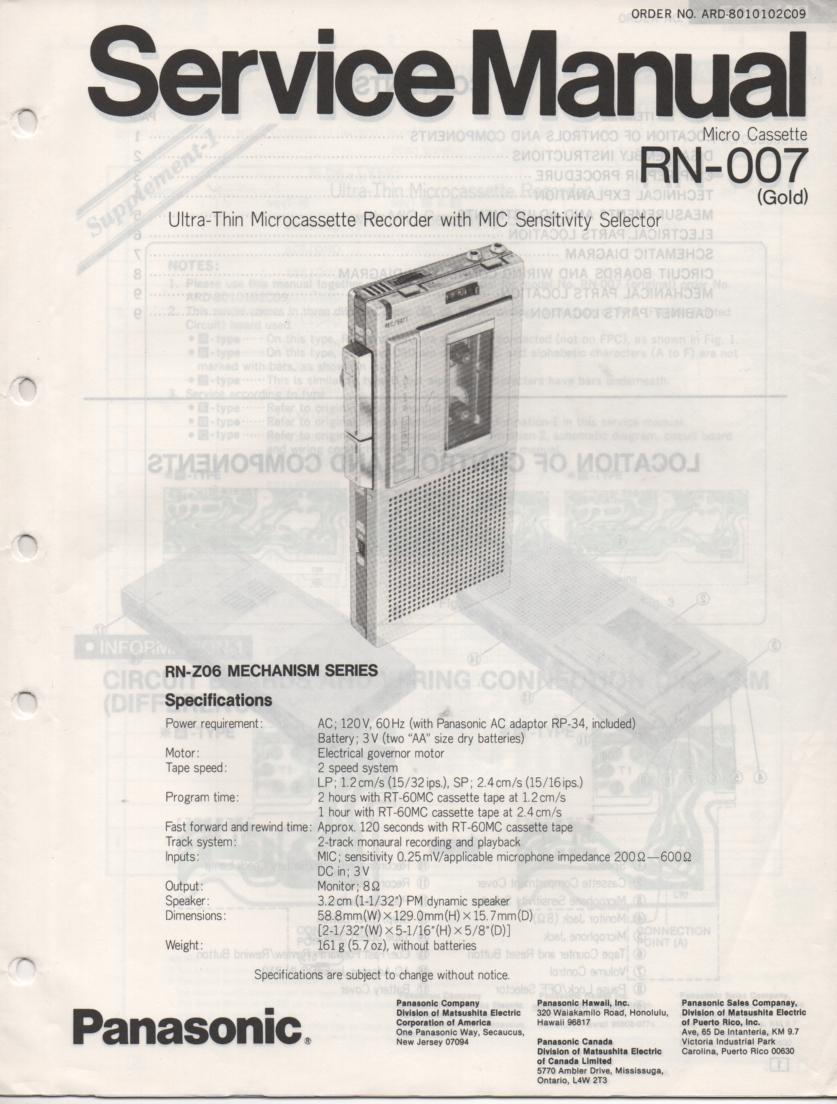 RN-007 Microcassette Deck Service Manual