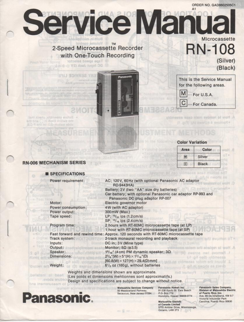 RN-108 Microcassette Deck Service Manual